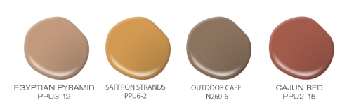 Four paint drops featuring the following BEHR paint colors: Egyptian Pyramid, Saffron Strands, Outdoor Cafe and Cajun Red.