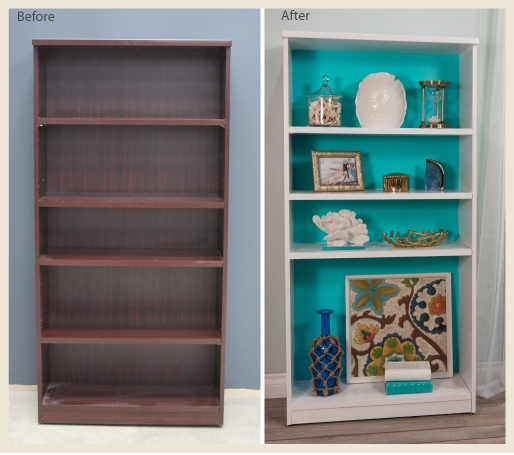 A side by side before and after shots of a renovated bookcase, simply using paint.
