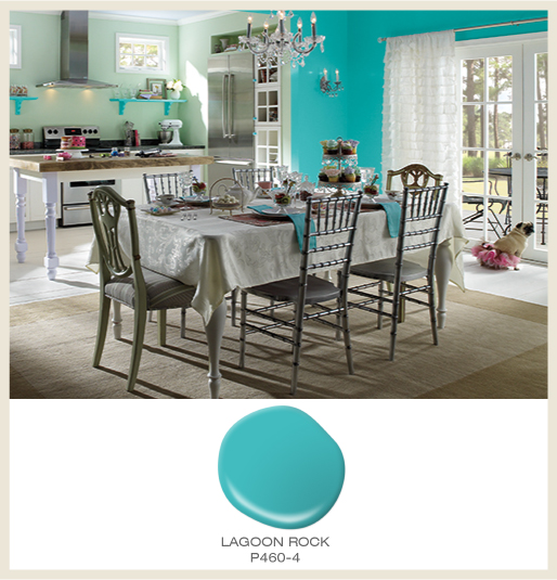 A whimsical kitchen and dining area featuring a bright  blue wall, featured BEHR color is Lagoon Rock.