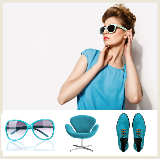 A collage featuring bright blue elements: A woman wearing a blue blouse, a pair of blue framed sunglasses, a modern blue chair and a pair of blue suede shoes.