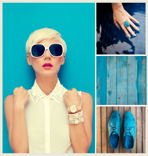 A collage of bright blue elements: A stylish woman standing infront of a bright blue wall, a woman's hand with a blue ring stone, blue wood panels and blue suede shoes.