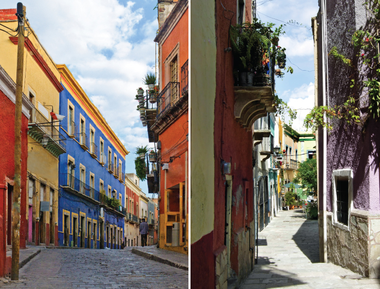 Colorful street scenes of historic town of Guanajuato listed as a UNESCO World Heritage Site.