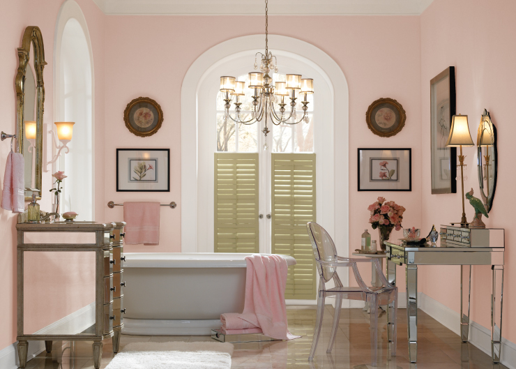 A bathroom with walls painted in Cupcake Pink.