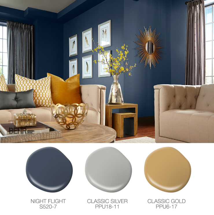 A blue living room. Paint drops in blue, gray and yellow.