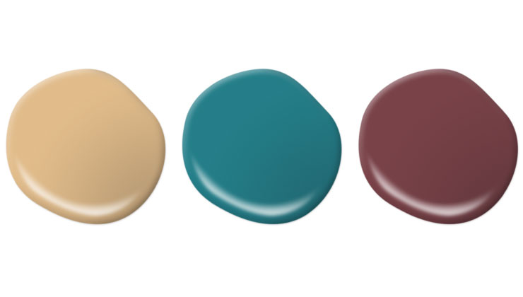 This image shows paint drops of exterior door accent options in Royal Gold, Caribe and Spiced Wine.