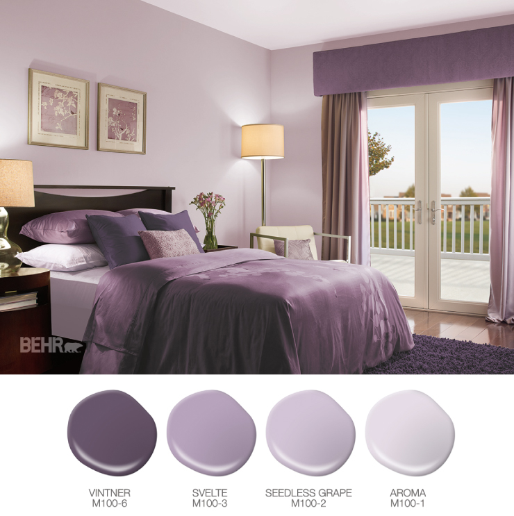 A purple bedroom living room. Paint drops in different hues of purple.