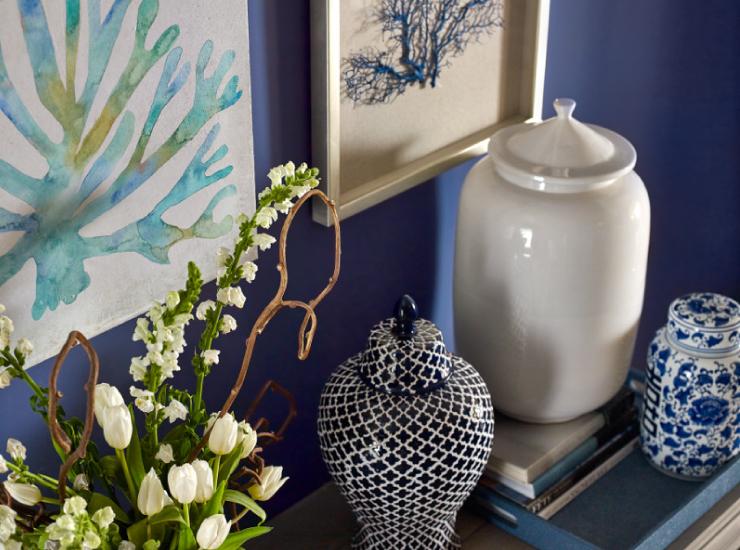 Artful arrangement of vases.