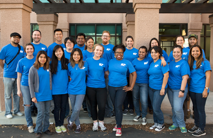 A photo of the volunteer team after painting center.