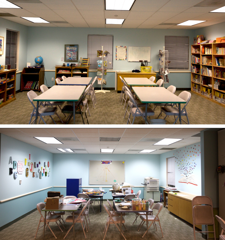 Before and after shots of the study room.