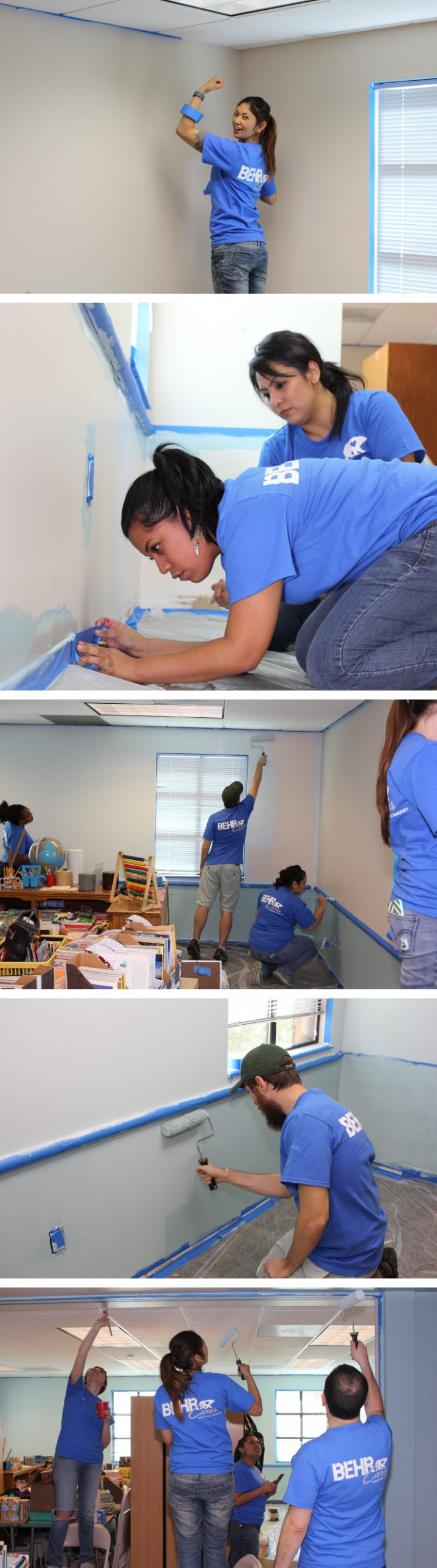Several photos of painting volunteers, showing different painting steps.