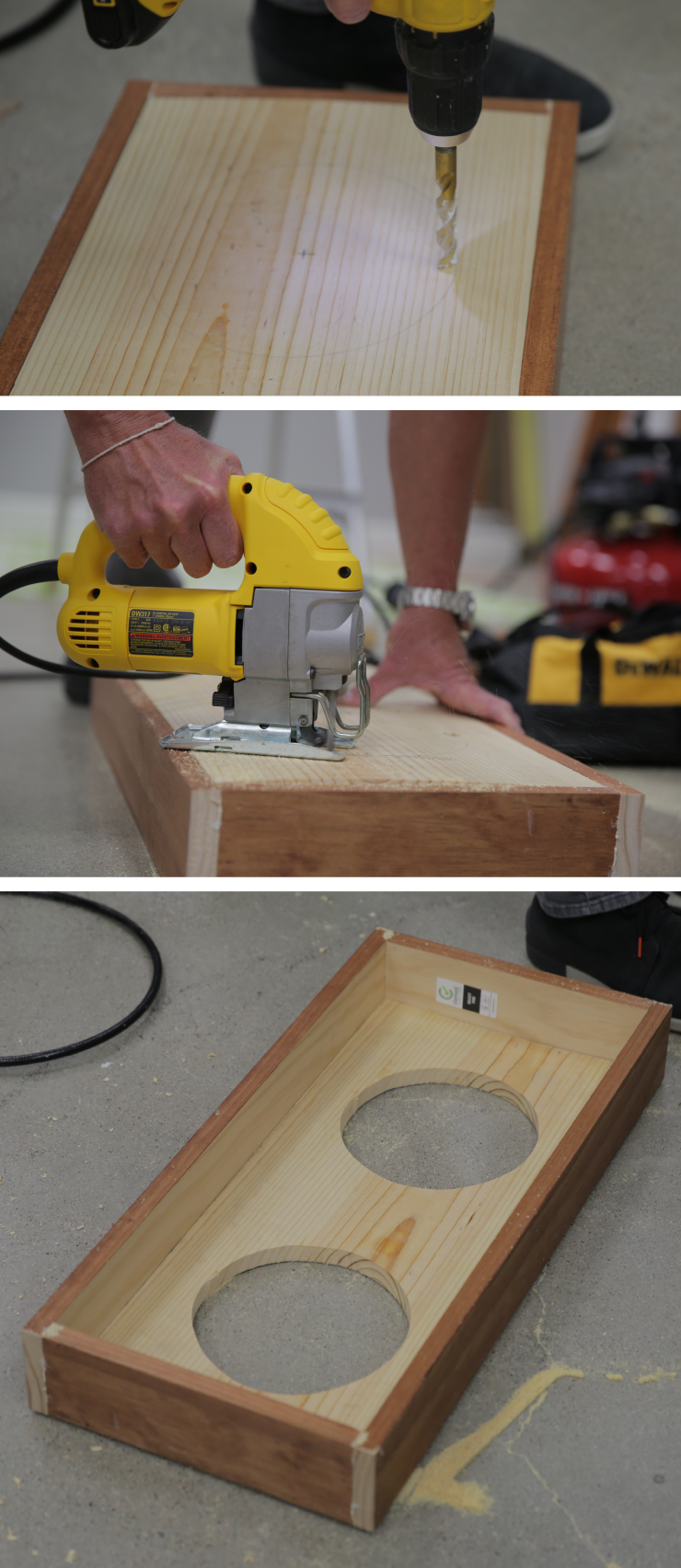 Drilling a hole in the board and cutting circles from the board.