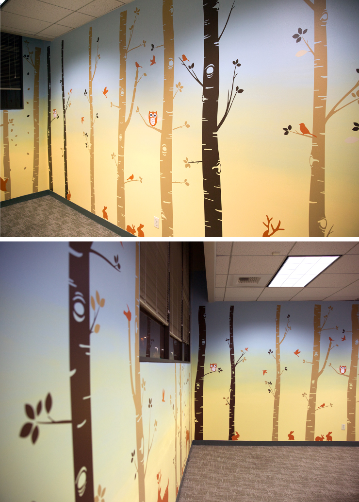 After photos of the therapy room showing a woodland scene.