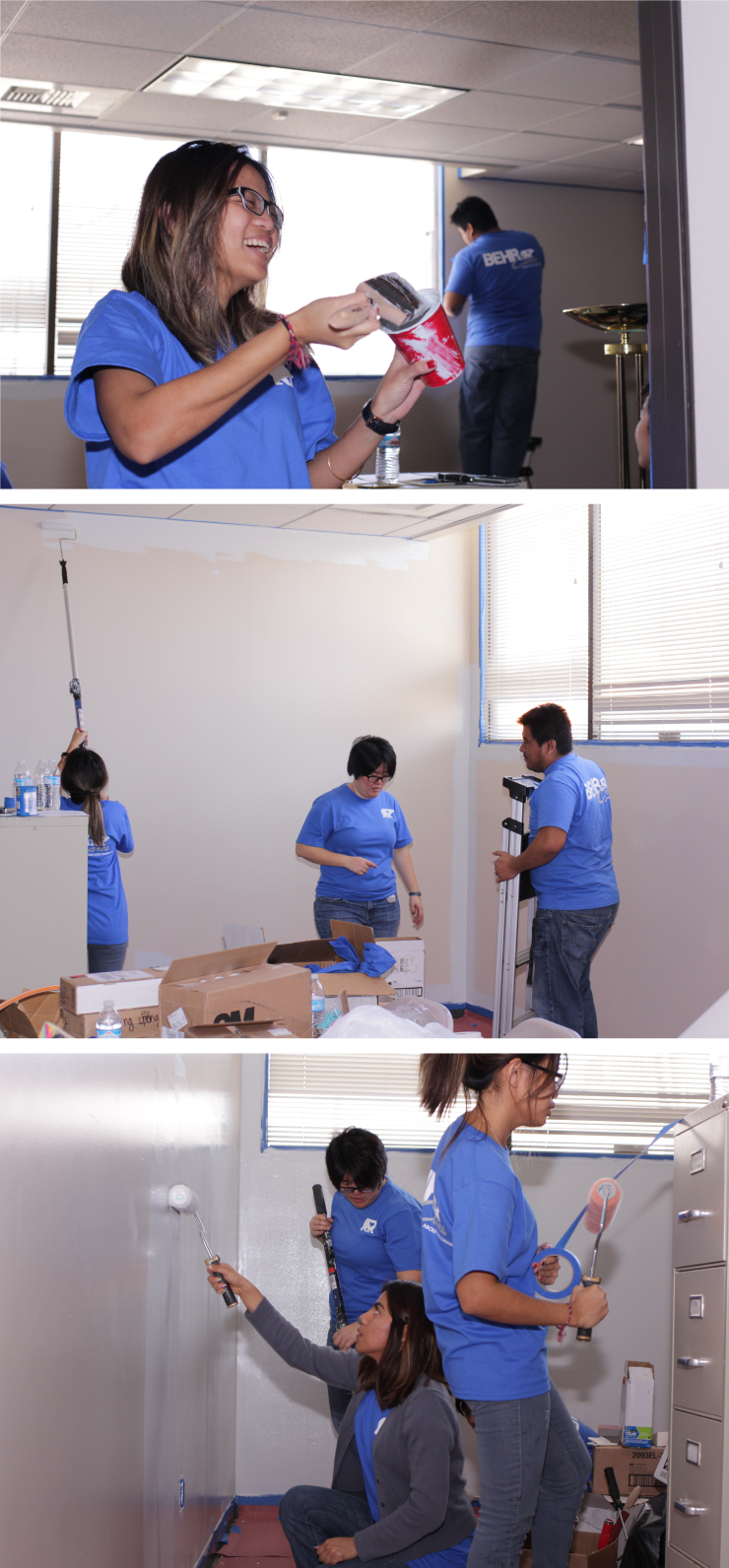 Multiple people prepping, taping and painting the art room.