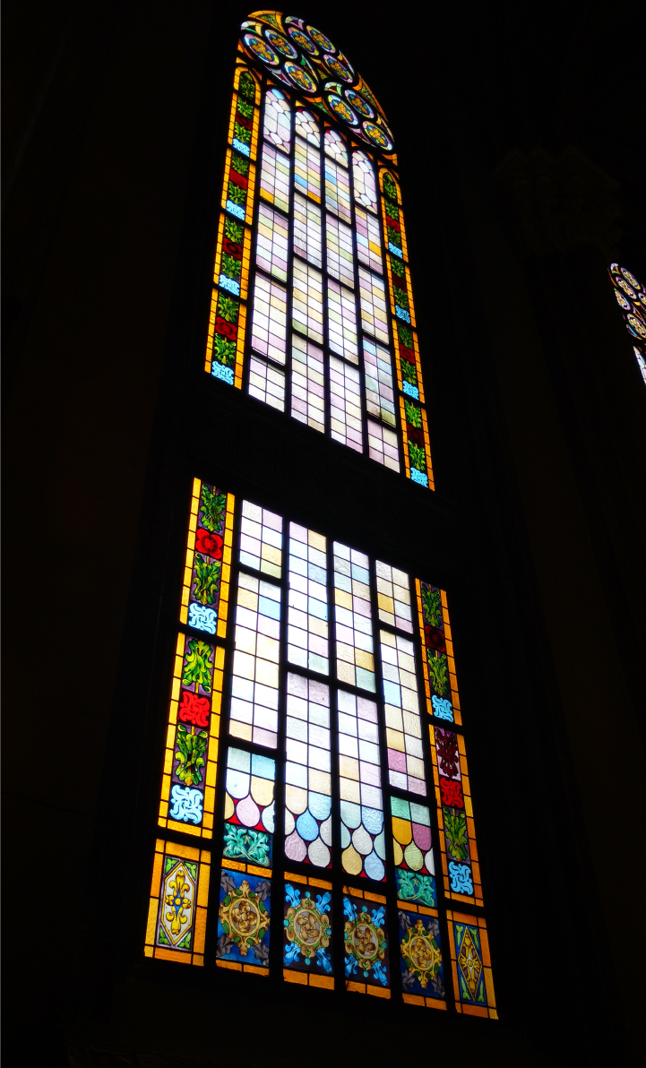 Colored glass windows inside a Turkish Cathedral.