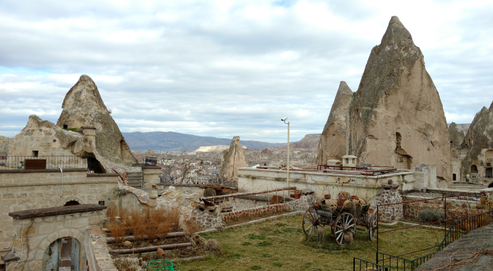 View of ancient Turkey from a hotel room.