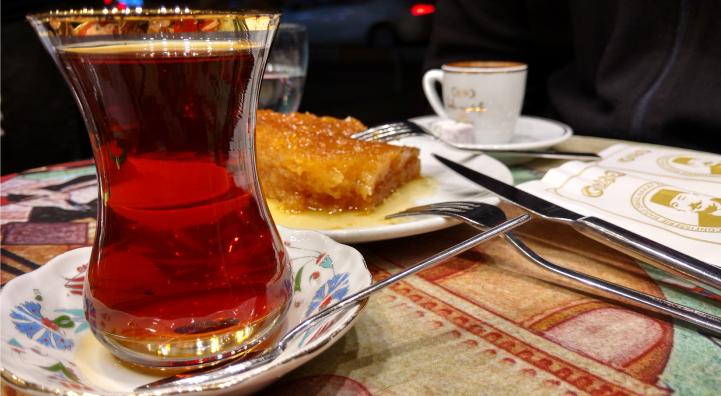 Turkish tea and dessert.