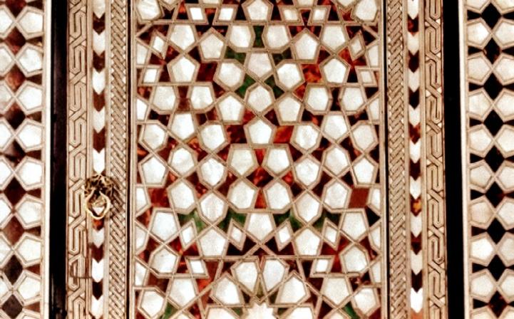 Beautiful mosaic geometric design on a door.