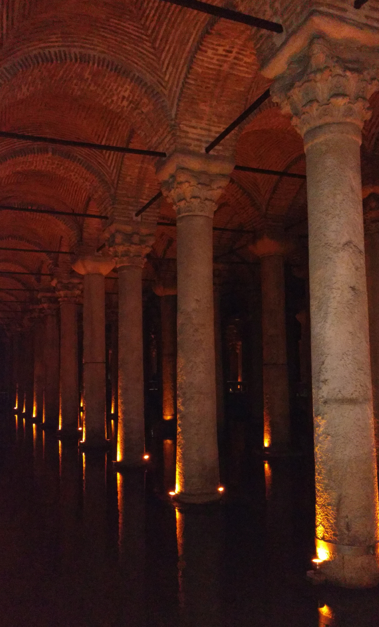 Iconic and Corinthian style marble columns inside the Basilica Cistern.