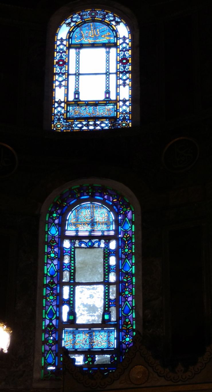 More stained colorful  glass windows inside the Cathedral.