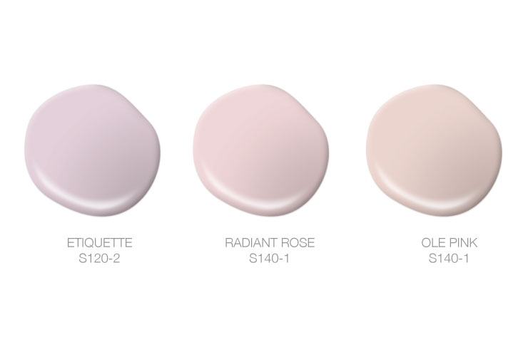 This image shows paint spills of Etiquette, Radiant Rose, and Ole Pink.