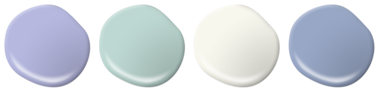 Paint drops representing purple, green, white and blue colors