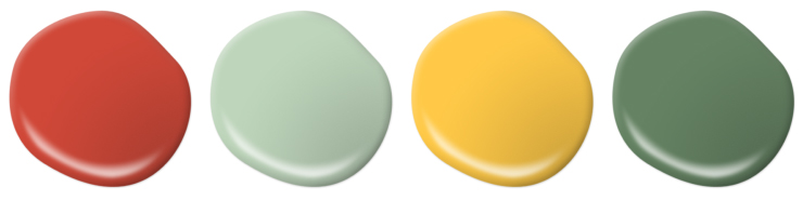 Paint drops representing orange, greens, and yellow flowers.