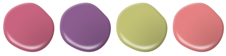 paint drop is pinks, purple, and green.