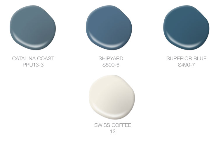 This image shows four paint drops in Catalina Coast, Shipyard, Superior Blue and Swiss Coffee.