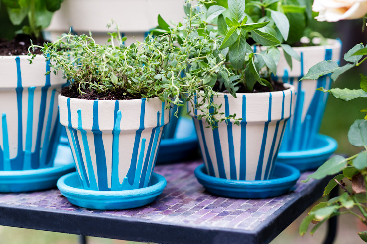 Painted clay pots with herbs in them sitting on a table.