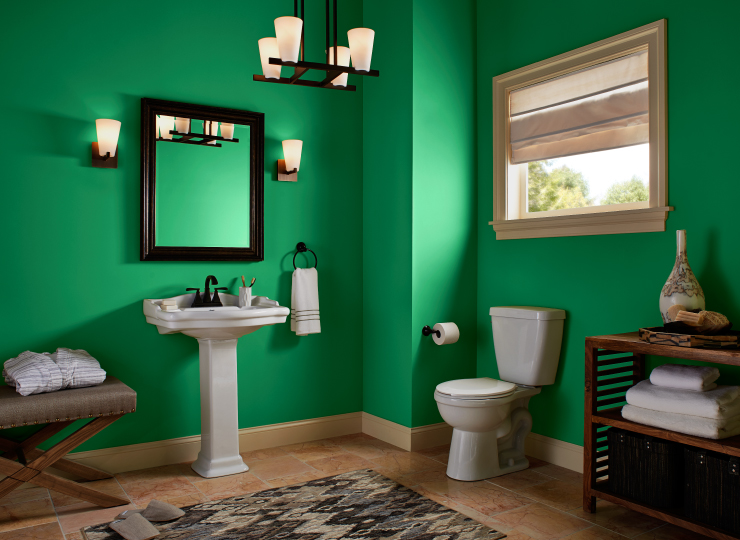 A bathroom with the walls painted in the color Grasslands.