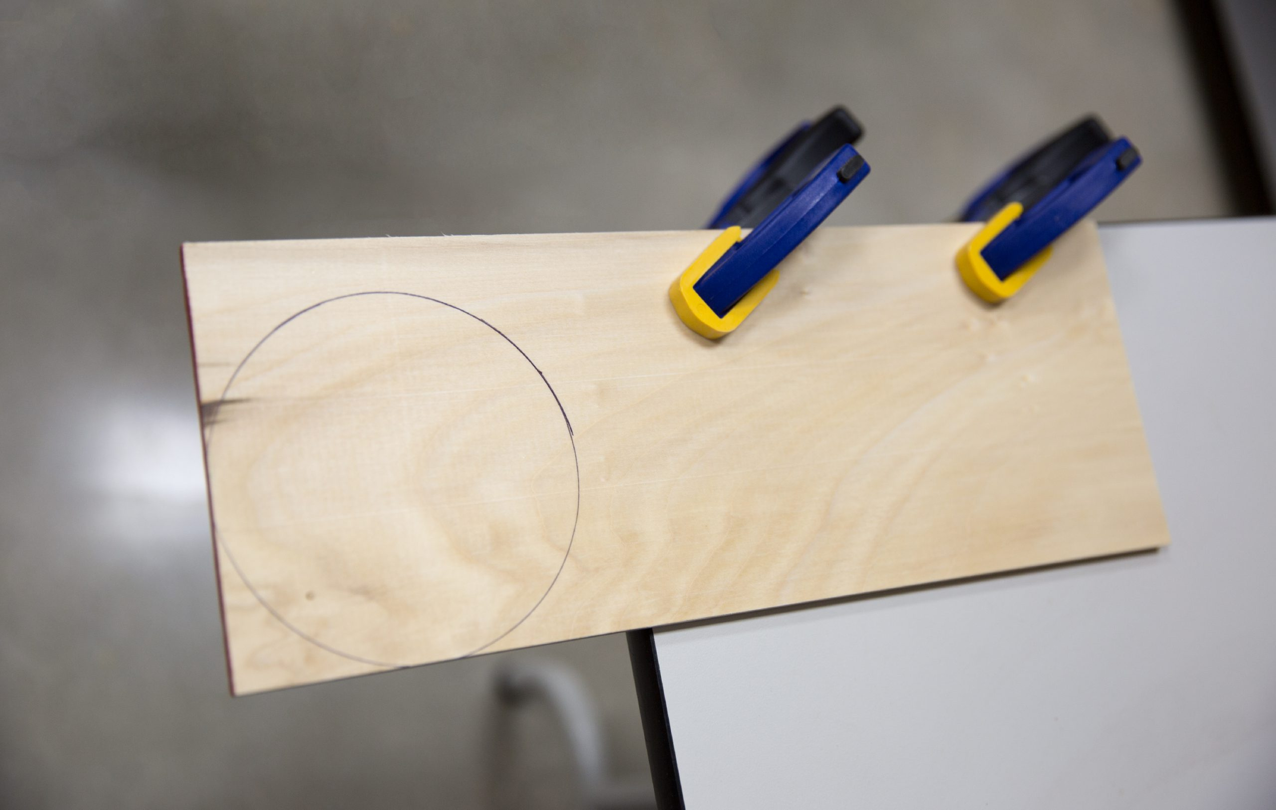 Circle drawn on a piece of wood