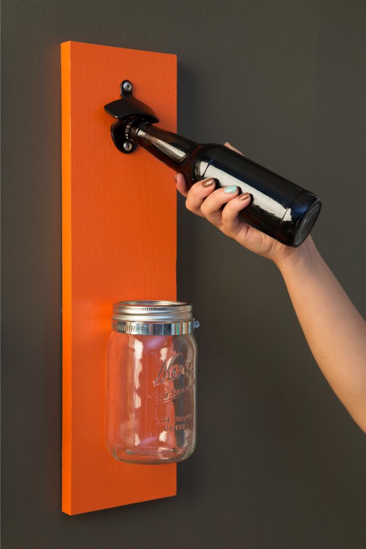 Using the bottle opener.