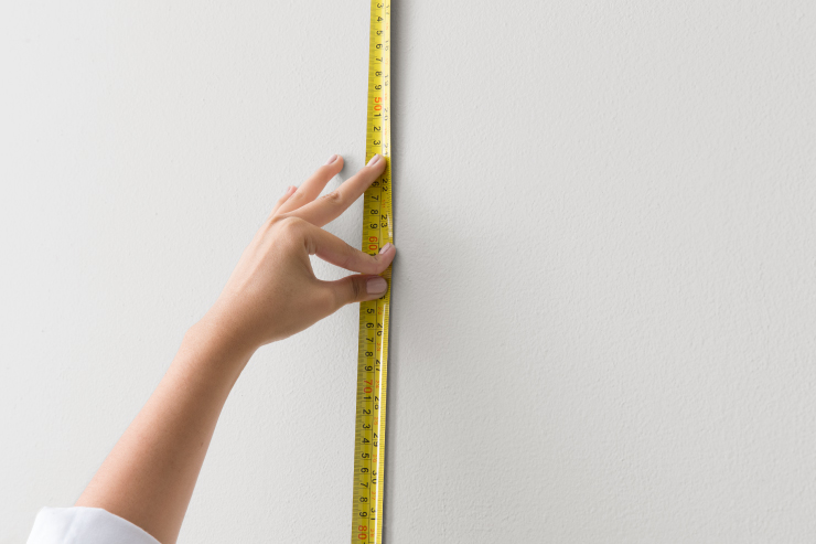Measuring area on the wall.