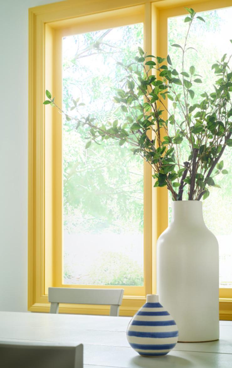 Window frame painted in Lemon Burst.