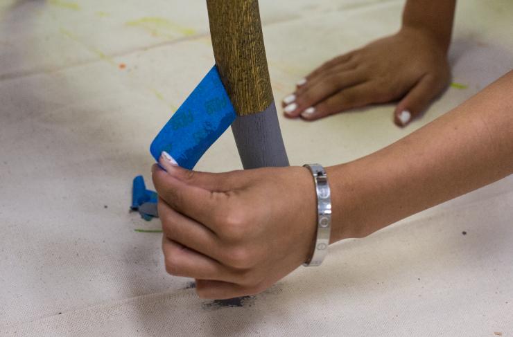 Adding blue tape.