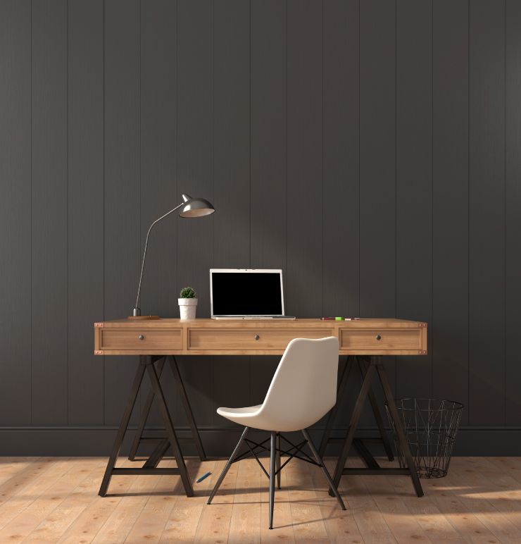 Home office with walls painted in Chimney.