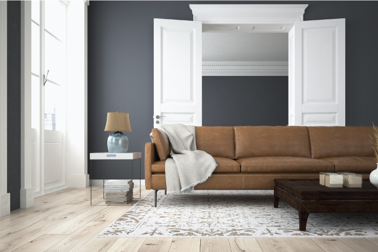 A living room with the walls painted in a gray color.