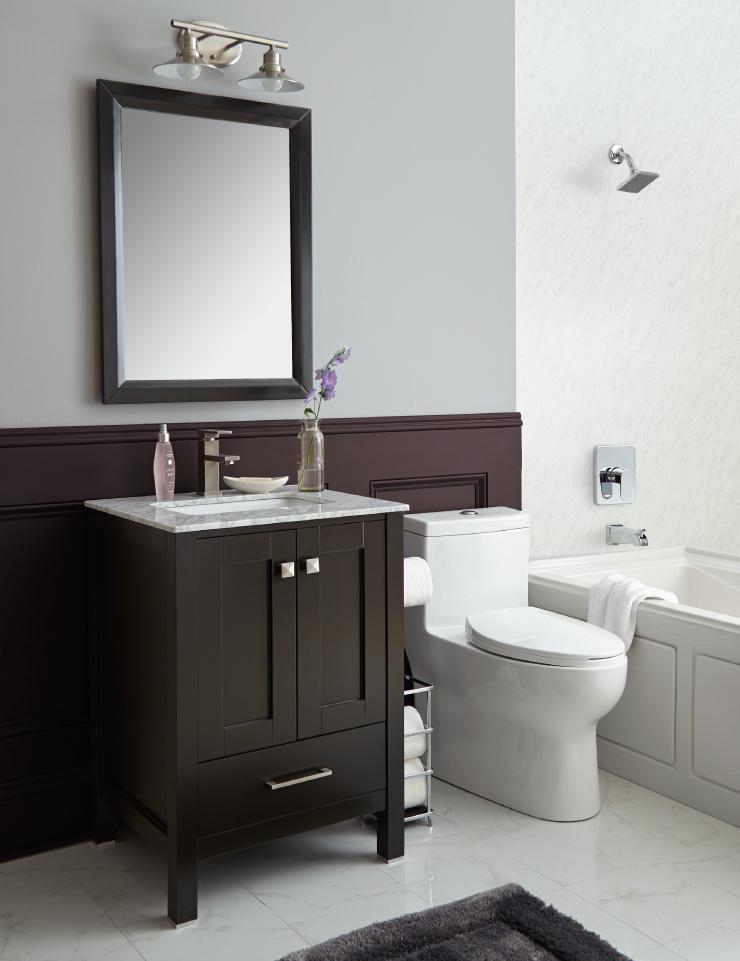 Bathroom painted in Black Garnet
