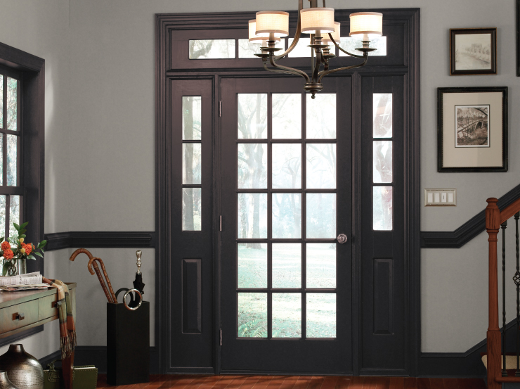 An interior entry with wall in a beige color and trim painted in Black Garnet.