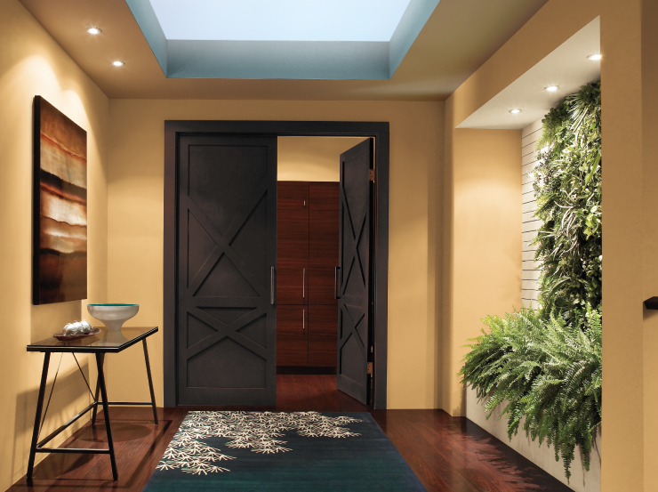 An interior entry way with wall in a gold color and door painted in Black Garnet.