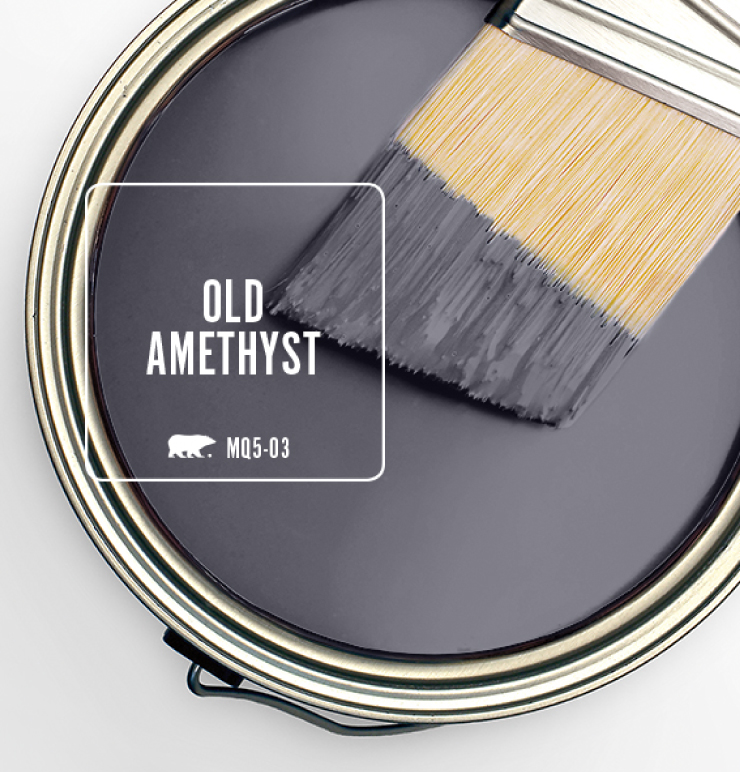 Paint Swatch - Open paint can with paint brush that was dipped showing paint color for: Old Amethyst