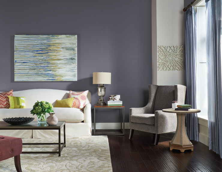 A living room painted in Old Amethyst