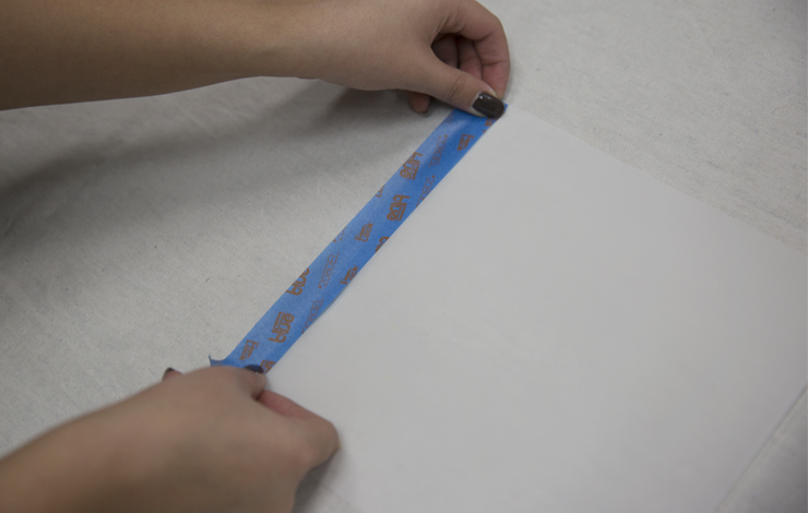 Placing painters tape