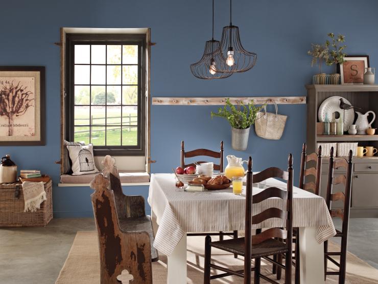 Farmhouse style dining area.