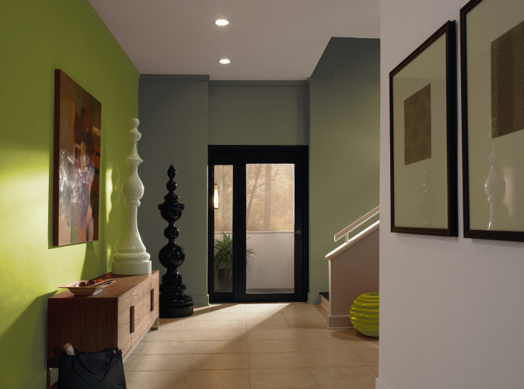A hallway with wall painted in Fresh Apple.
