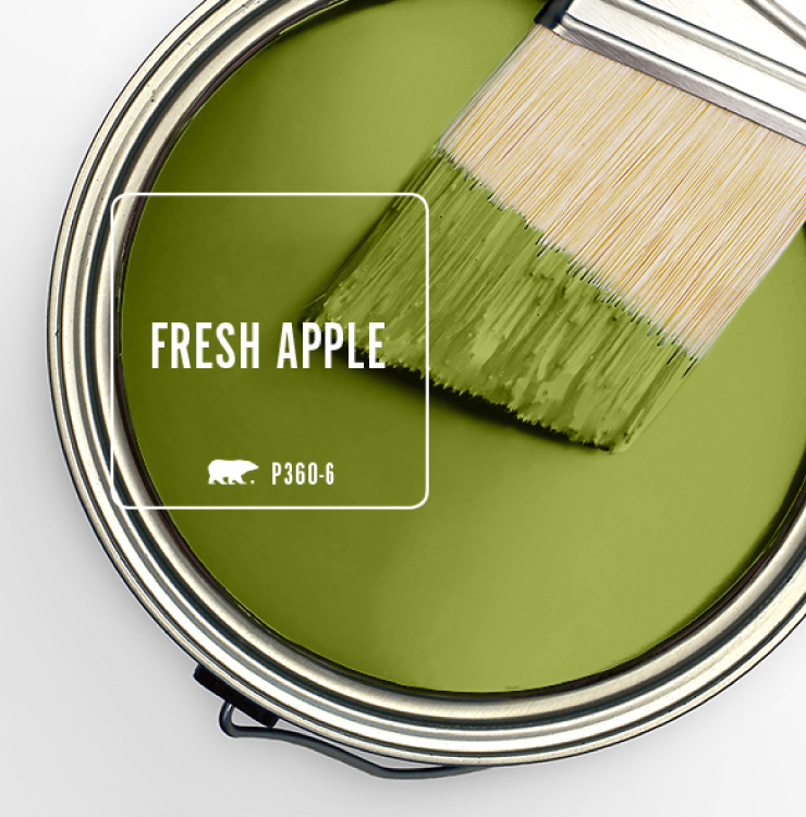 Paint Swatch - Open paint can with paint brush that was dipped showing paint color for: Fresh Apple