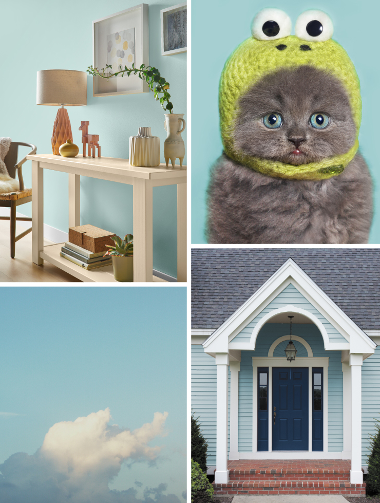 A collage of images representing the color: Peek a Blue