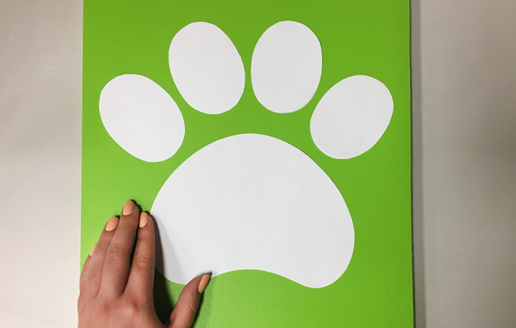 The green board with a white paw print placed on top.