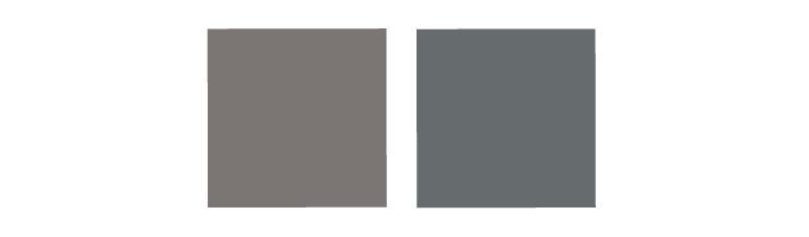 The red-gray block and blue-gray block of color sided by side.