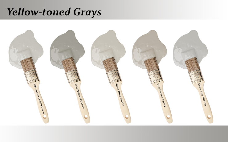 Five paint brushes dipped into paint drops that are Yellow-toned grays colors.